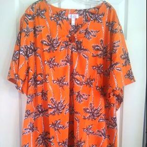 Denim & Co Orange Palm Tree Tee-NWT